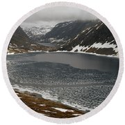Mt. Dalsnibba And The Serpentine Descent To The Geirangerfjord Round Beach Towel