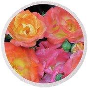 Multi-color Roses Round Beach Towel