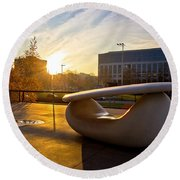 Museum Of Contemporary Art In Zagreb Exterior Detail Round Beach Towel
