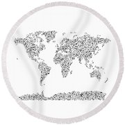 Music Notes Map Of The World Round Beach Towel