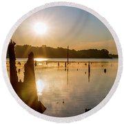 Mystical Sunrise On The Lake Round Beach Towel