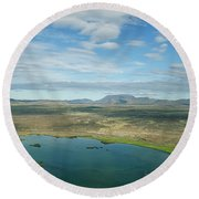 Beautiful Myvatn, Iceland Round Beach Towel