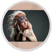 Native American Round Beach Towel