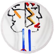Native American Image Round Beach Towel