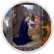 Nativity With Shepherds Round Beach Towel