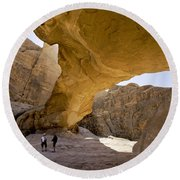 Natural Arch In Wadi Rum Round Beach Towel by Michele Burgess