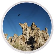 Natural Rock Formation And Wild Birds At Mono Lake, Eastern Sier Round Beach Towel