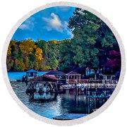Nature Landscapes Around Lake Wylie South Carolina Round Beach Towel