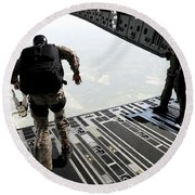 Navy Seals Jump From The Ramp Of A C-17 Round Beach Towel