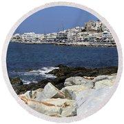 Naxos Greece Harbor Round Beach Towel