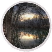 Neath The Willows By The Stream Round Beach Towel