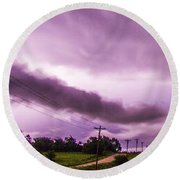 Nebraska Night Thunderstorms 009 Round Beach Towel