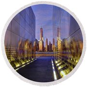New Jersey Empty Sky 9-11 Memorial Round Beach Towel