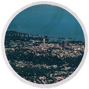New Rochelle Real Estate Aerial Photo Round Beach Towel