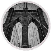 New York City - Brooklyn Bridge Round Beach Towel