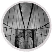 New York City - Brooklyn Bridge Round Beach Towel