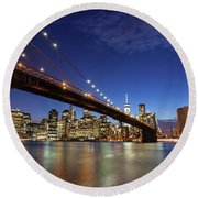 New York City Skyline By Night Round Beach Towel