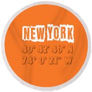 New York Coordinates Round Beach Towel