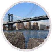 New York's Manhattan Bridge Round Beach Towel