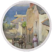 Newlyn From The Bottom Of Adit Lane Round Beach Towel