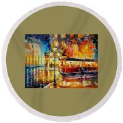 Night Trolley Round Beach Towel