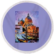Night Venice Round Beach Towel