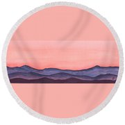 Nightfall Over The Hills Round Beach Towel