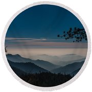 Misty Blue Shades Of Generals Highway 1 Round Beach Towel