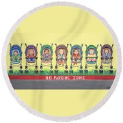 No Parking Zone Round Beach Towel