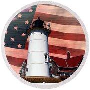 Nobska Lighthouse On American Flag Round Beach Towel