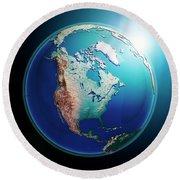 North America 3d Render Planet Earth Dark Space Round Beach Towel