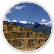 North Pueblo Taos Round Beach Towel by Kurt Van Wagner