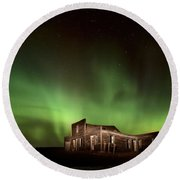 Northern Lights Canada Abandoned Building Round Beach Towel