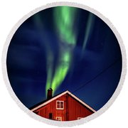 Northern Lights Chimney Round Beach Towel
