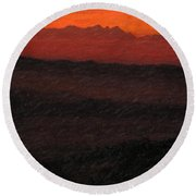 Not Quite Rothko - Blood Red Skies Round Beach Towel