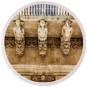 Noto, Sicily, Italy - Detail Of Baroque Balcony, 1750 Round Beach Towel