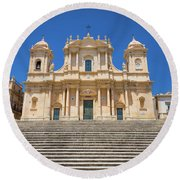 Noto, Sicily, Italy - San Nicolo Cathedral, Unesco Heritage Site Round Beach Towel