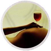 Nude Wine Round Beach Towel