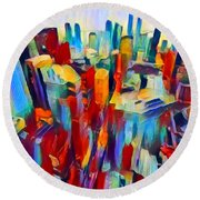 Nyc View Round Beach Towel