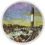Oak Island Lighthouse Round Beach Towel