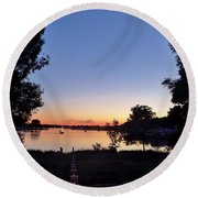 Obear Park And The Danvers River At Sunset Round Beach Towel