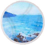 Ocean Coastline Watercolor Round Beach Towel