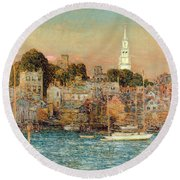October Sundown Round Beach Towel by Childe Hassam