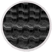 Office Building Abstract Round Beach Towel