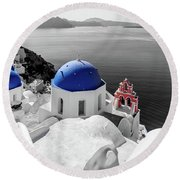 Oia, Santorini / Greece Round Beach Towel