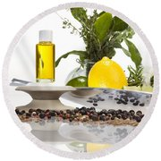 Oil Mixture Of Essential Oils For Aromatherapeutic Use Round Beach Towel
