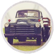Old Chevy Farm Truck In Vermont Square Round Beach Towel