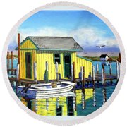 Old Crab Yellow Shacks Of Tangier Island Round Beach Towel