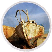 Old Dilapidated Wooden Boat  Round Beach Towel