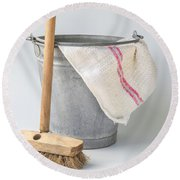 Old Fashioned Housekeeping With Zinc Bucket Round Beach Towel